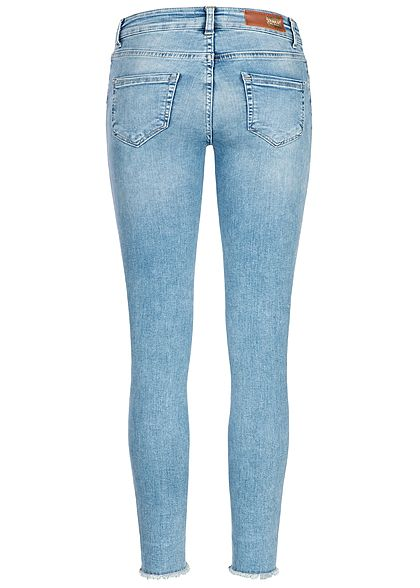 ONLY Damen Ankle Skinny Jeans Hose 5-Pockets Glitzer Fransen hell blau denim