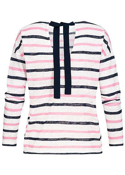 ONLY Damen Longsleeve Streifen Muster zum binden cloud dancer weiss rosa blau