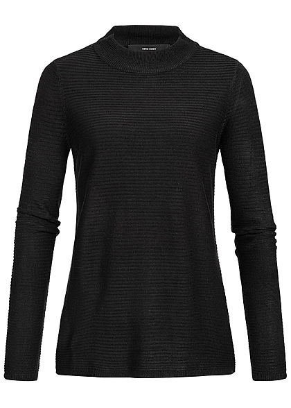 Vero Moda Damen High-Neck Sweater Struktur Muster NOOS schwarz