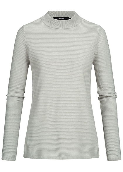 Vero Moda Damen High-Neck Sweater Struktur Muster NOOS high rise hell grau
