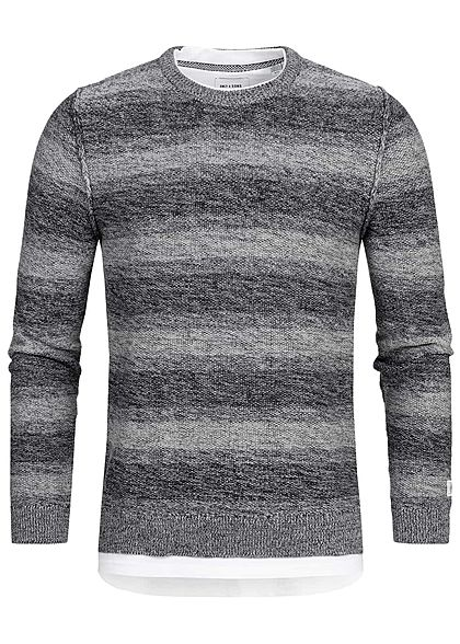 ONLY & SONS Herren Sweater 2in1 Optik medium grau melange