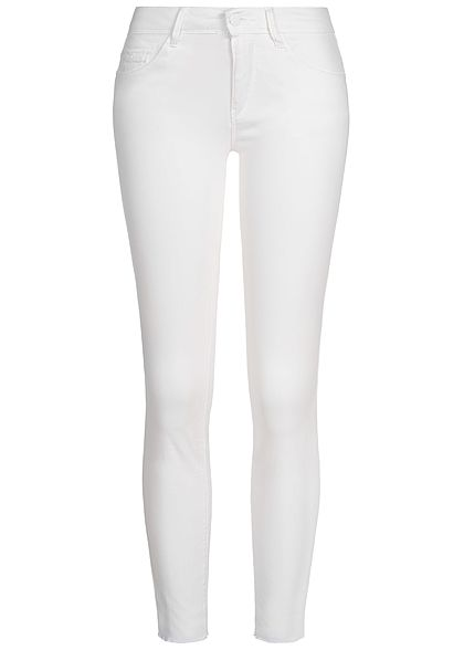 JDY by ONLY Damen Skinny Jeans Hose 5-Pockets Knöchellang weiss