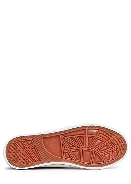 Seventyseven Lifestyle Damen Schuh 2-Tone Canvas Sneaker zum schnüren schwarz weiss
