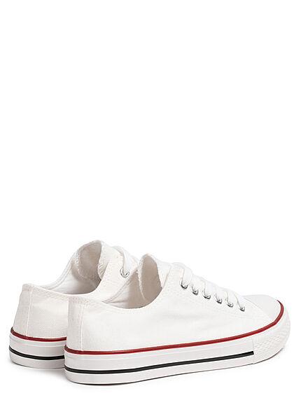 Seventyseven Lifestyle Damen Schuh Canvas Sneaker zum schnüren weiss