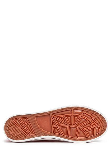 Seventyseven Lifestyle Damen Schuh Canvas Sneaker zum schnüren rot weiss