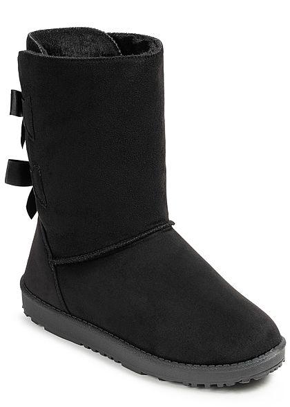 b2f2757f880244 Seventyseven Lifestyle Damen Schuh Winter Boots Schleifen Kunstleder  schwarz - 77onlineshop