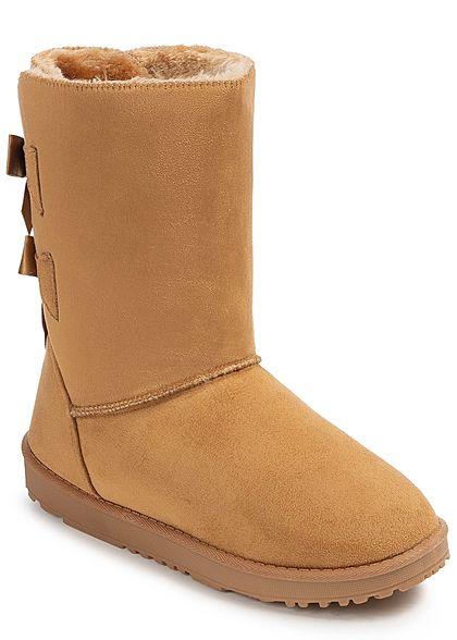 34d5cbd43cfce5 Seventyseven Lifestyle Damen Schuh Winter Boots Schleifen Kunstleder camel  braun - 77onlineshop