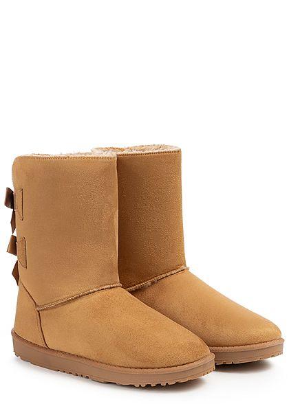Seventyseven Lifestyle Damen Schuh Winter Boots Schleifen Kunstleder camel braun