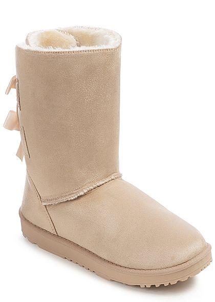4e77120c0125e4 Seventyseven Lifestyle Damen Schuh Winter Boots Schleifen Kunstleder beige  - 77onlineshop