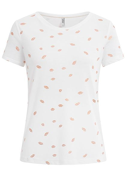 ONLY Damen T-Shirt Kiss Print NOOS cloud dancer weiss