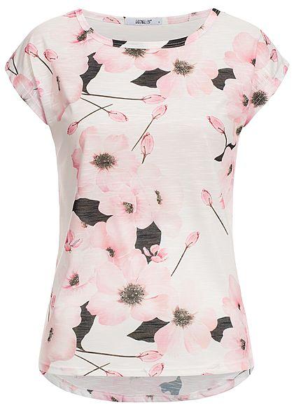 98ea373a9d4fde Hailys Damen T-Shirt Blumen Print off weiss rosa schwarz - 77onlineshop