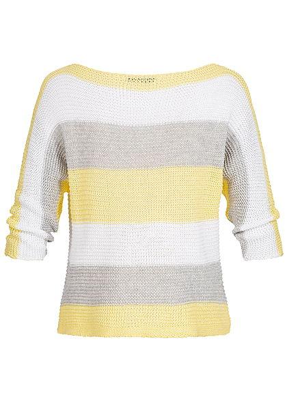 Hailys Damen 3/4Arm Grobstrick Pullover Streifen Muster gelb weiss grau