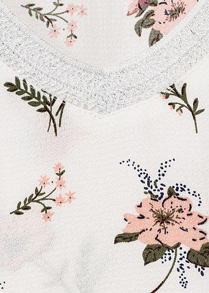 Hailys Damen Blusen Top Blumen Muster Glitzer off weiss rosa grün