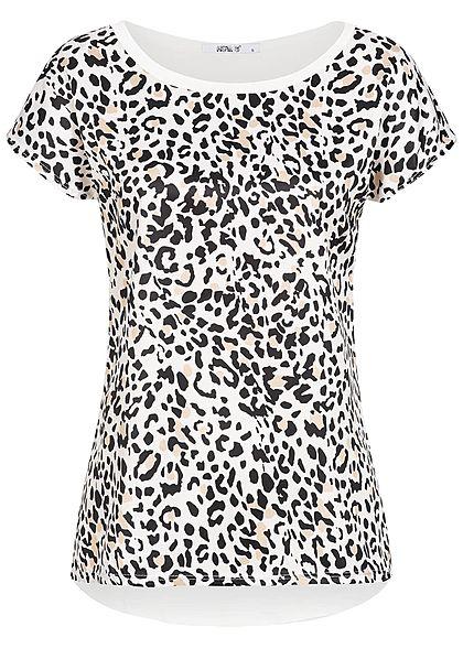 100% Spitzenqualität abwechslungsreiche neueste Designs heiße Angebote Hailys Damen T-Shirt Leo Print weiss beige schwarz