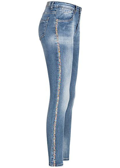 42e3dc18529034 Hailys Damen Skinny Jeans Hose Strasssteine 4-Pockets medium blau denim -  77onlineshop