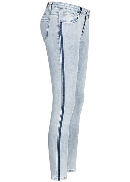 Hailys Damen Skinny Jeans Hose 5-Pocktes Glitzerstreifen washed blau denim