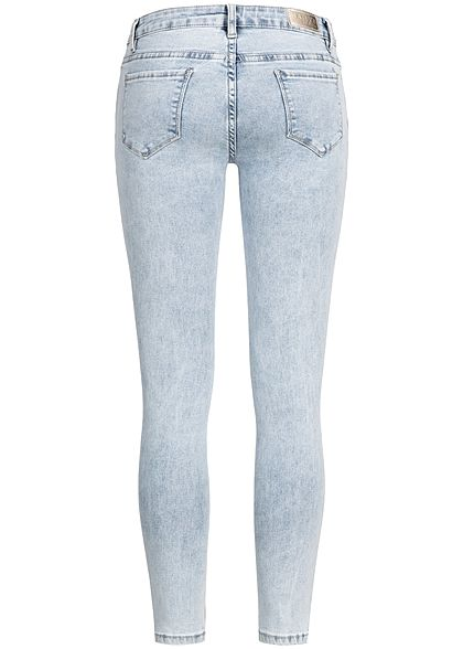 Hailys Damen Skinny Jeans Hose 5-Pocktes Glitzerstreifen washed blau denim