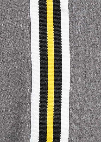 Hailys Damen Stoff Hose 2-Pocktes Kontraststreifen Beinumschlag dunkel grau gelb