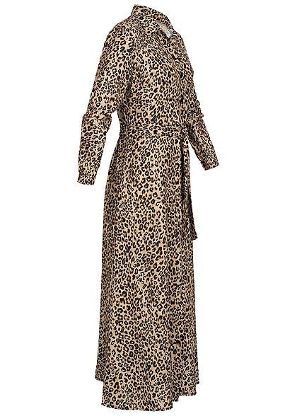 Hailys Damen Longform Kleid Leo Print braun schwarz
