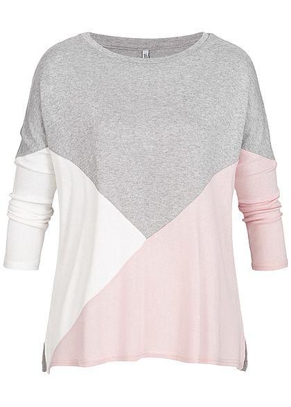 c24b2c0404f261 Hailys Damen 3 4 Arm Shirt Colorblock grau rosa weiss - 77onlineshop
