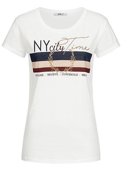 35d462007f1a43 Hailys Damen T-Shirt NY City Time Print off weiss navy rosa - 77onlineshop