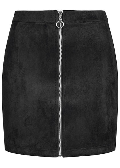 Hailys Damen Velour Skirt Zipper schwarz