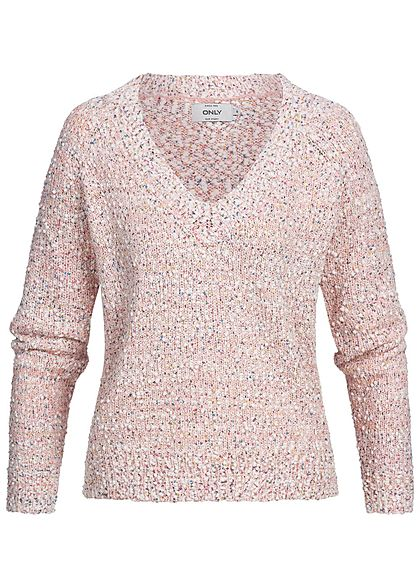 ONLY Damen Strickpullover Struktur-Stoff blushing bride rosa multicolor