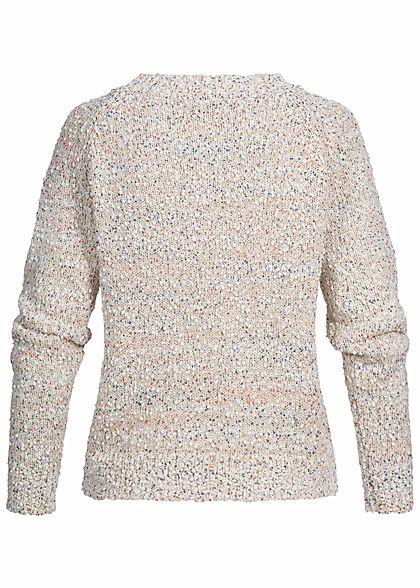 ONLY Damen Strickpullover Struktur-Stoff pumice stone beige multicolor