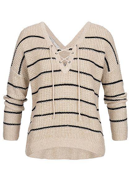 online store 67372 482c5 ONLY Damen Strickpullover Streifen Muster Glitzer peyote beige schwarz