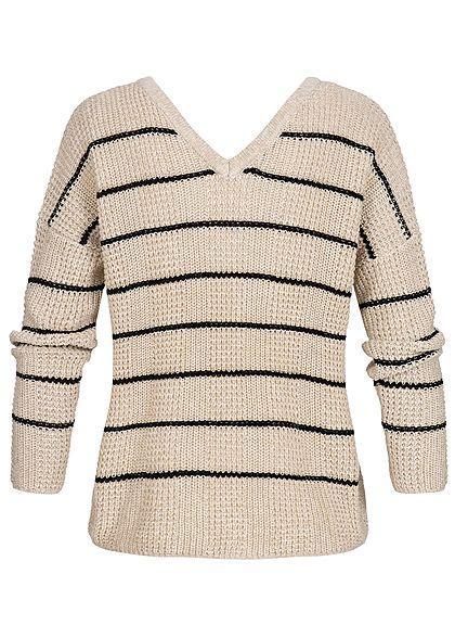 ONLY Damen Strickpullover Streifen Muster Glitzer peyote beige schwarz
