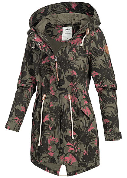 ONLY Damen Übergangsparka Kapuze 2 Taschen Florales Muster kalamata grün