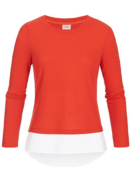 JDY by ONLY Damen Longsleeve 2in1 Optik fiery rot weiss