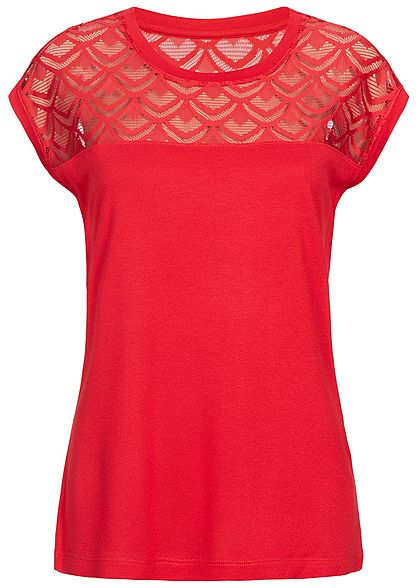ONLY Damen Lace Shirt NOOS high risk rot