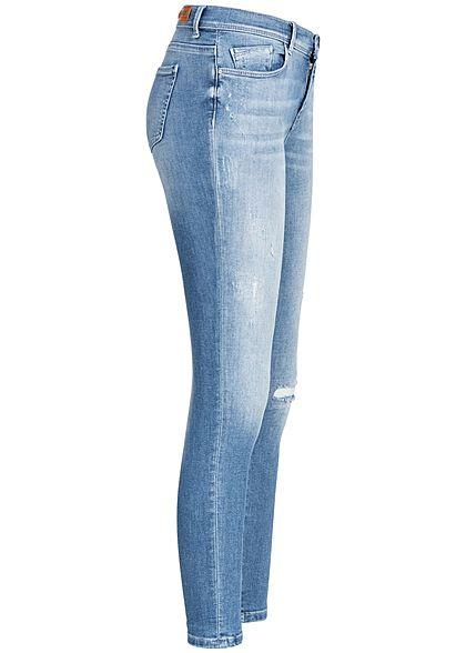 ONLY Damen Skinny Ankle Jeans Hose Destroy Look 5-Pockets medium blau denim