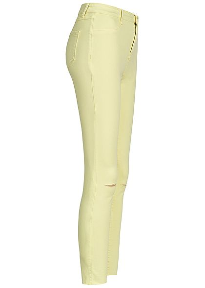 Hailys Damen Ankle Skinny Jeans Hose 2-Pockets Cutted Knee lemon gelb denim