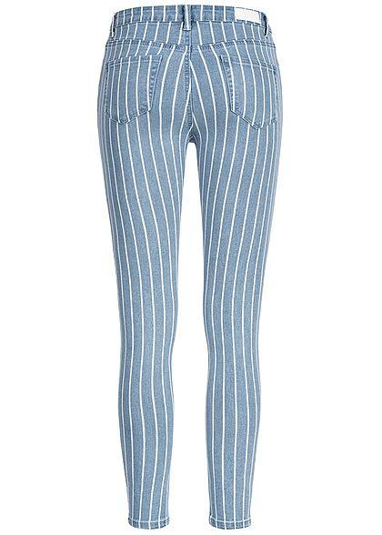 Hailys Damen Ankle Skinny Jeans Hose 5-Pockets Steifen Muster hell blau denim