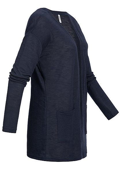 Hailys Damen Basic Cardigan 2-Pockets offener Schnitt navy blau