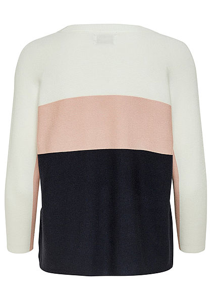 ONLY Damen NOOS 3/4 Arm Colorblock Pullover Ribbed cloud weiss rosa blau
