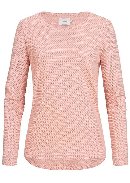 ONLY Damen Sweater Struktur Muster Glitzer misty rosa
