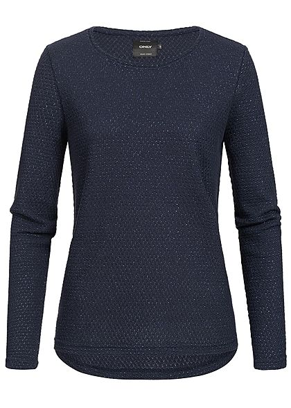 ONLY Damen Sweater Struktur Muster Glitzer night sky blau