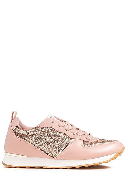 finest selection daafa 81470 ONLY Damen Schuh Sneaker Glitzer hell rosa