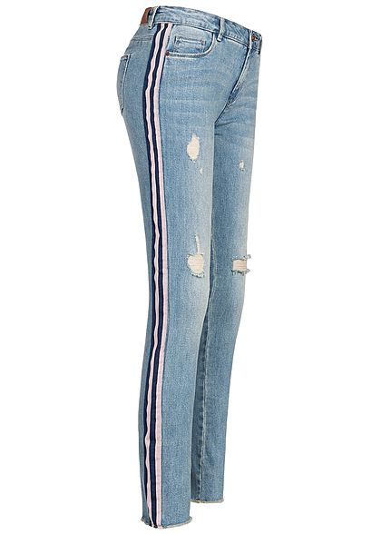 ONLY Damen Skinny Ankle Jeans Hose Destroy Look 5-Pockets medium blau denim