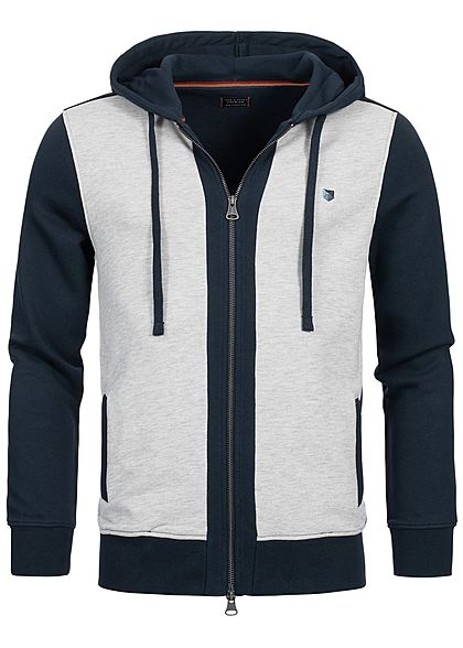 Jack and Jones Herren Sweat Zip Hoodie Kapuze 2 Taschen navy blazer blau beige