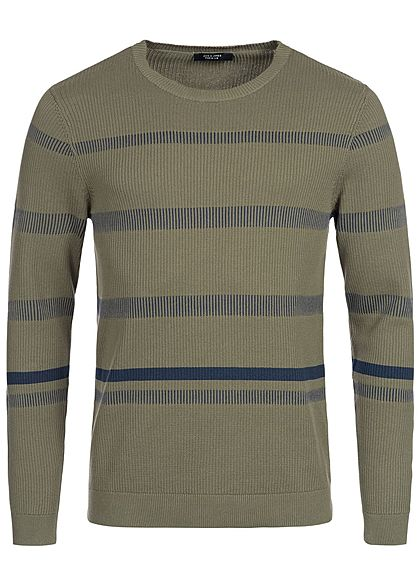 Jack and Jones Herren Sweater Streifen Muster kalamata olive grün blau