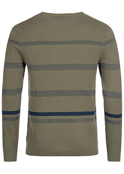 Jack and Jones Herren Sweater Streifen Muster kalamata olive grün blau