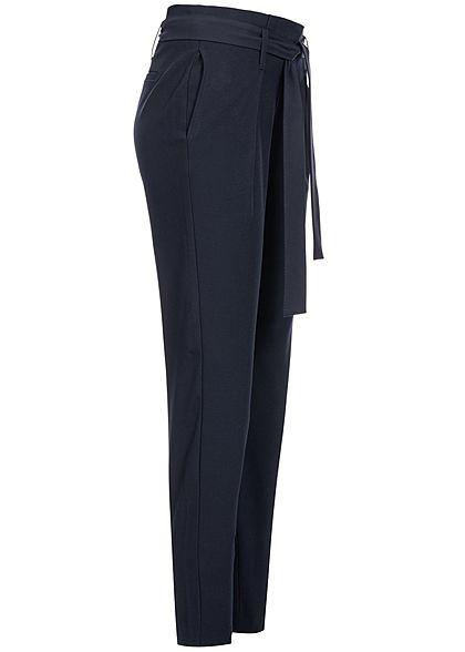 ONLY Damen NOOS Ankle Paper Bag Stoffhose 2-Pockets mit Bindegürtel night sky blau