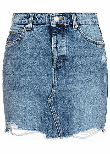 ONLY Damen NOOS Jeans Rock Destroy Look Fransen 5-Pockets hell blau denim