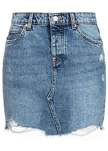894544df4c7f ONLY Damen Jeans Rock Destroy Look Fransen 5-Pocktes hell blau denim