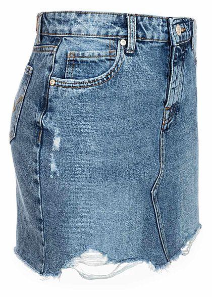 ONLY Damen NOOS Jeans Rock Destroy Look Fransen 5-Pockets hell blau denim