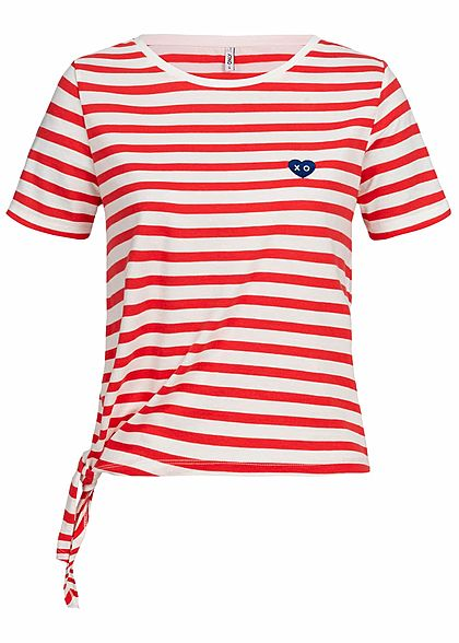 f85746c0b108fb ONLY Damen T-Shirt Streifen Muster rot weiß - 77onlineshop